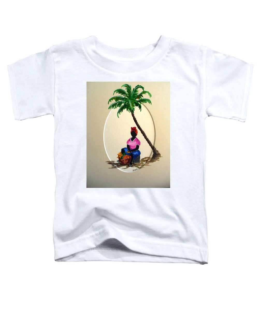Toddler T-Shirt featuring the painting Fruit Seller by Karin Dawn Kelshall- Best