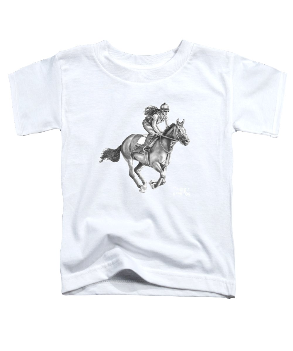 Horse Toddler T-Shirt featuring the drawing Full Gallop by Murphy Elliott