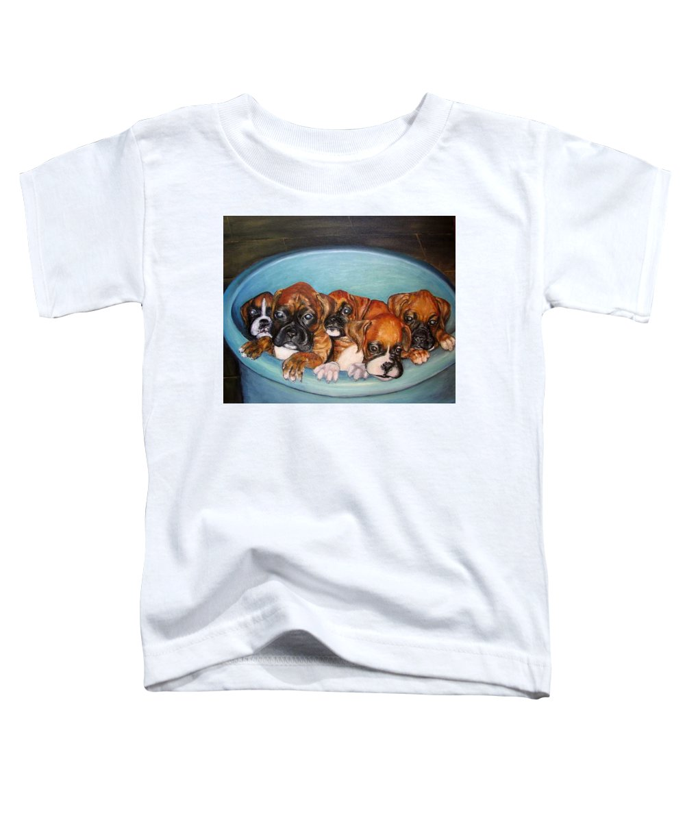 Oil Toddler T-Shirt featuring the painting Funny Puppies Orginal Oil Painting by Natalja Picugina