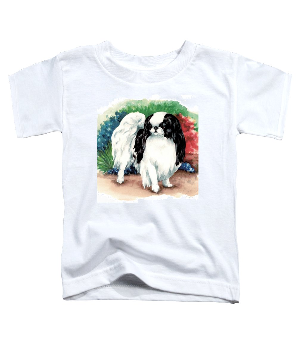 Japanese Chin Toddler T-Shirt featuring the painting Garden Chin by Kathleen Sepulveda