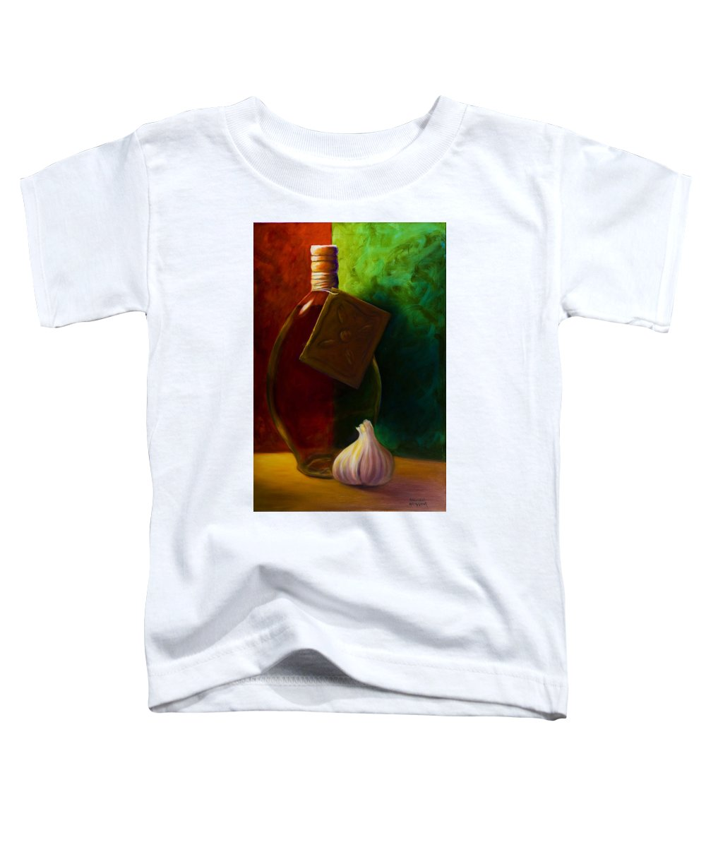Shannon Grissom Toddler T-Shirt featuring the painting Garlic And Oil by Shannon Grissom