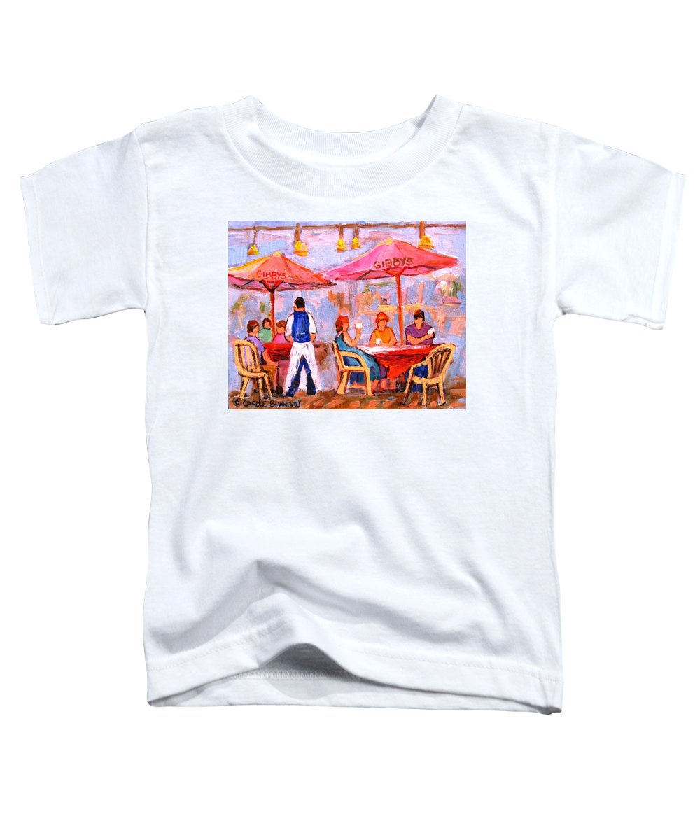 Gibbys Restaurant Montreal Street Scenes Toddler T-Shirt featuring the painting Gibbys Cafe by Carole Spandau