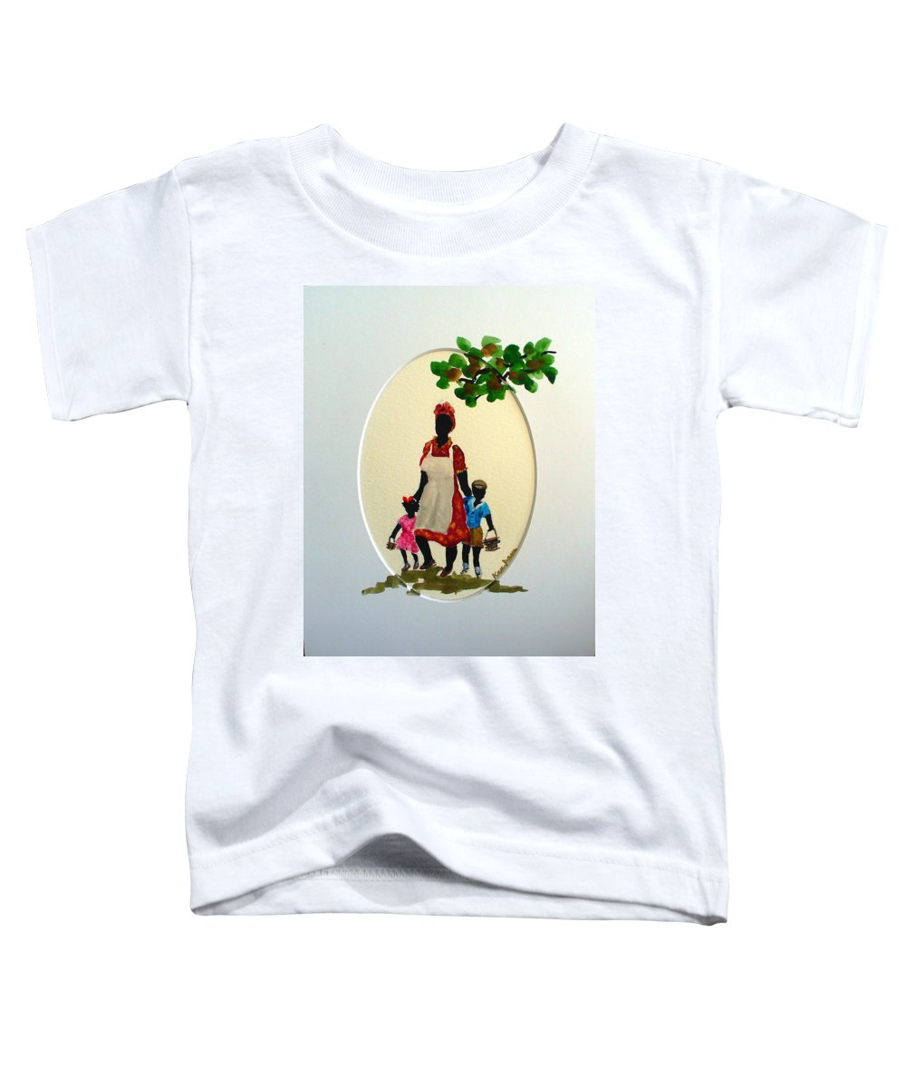 Caribbean Children Toddler T-Shirt featuring the painting Going To School by Karin Dawn Kelshall- Best