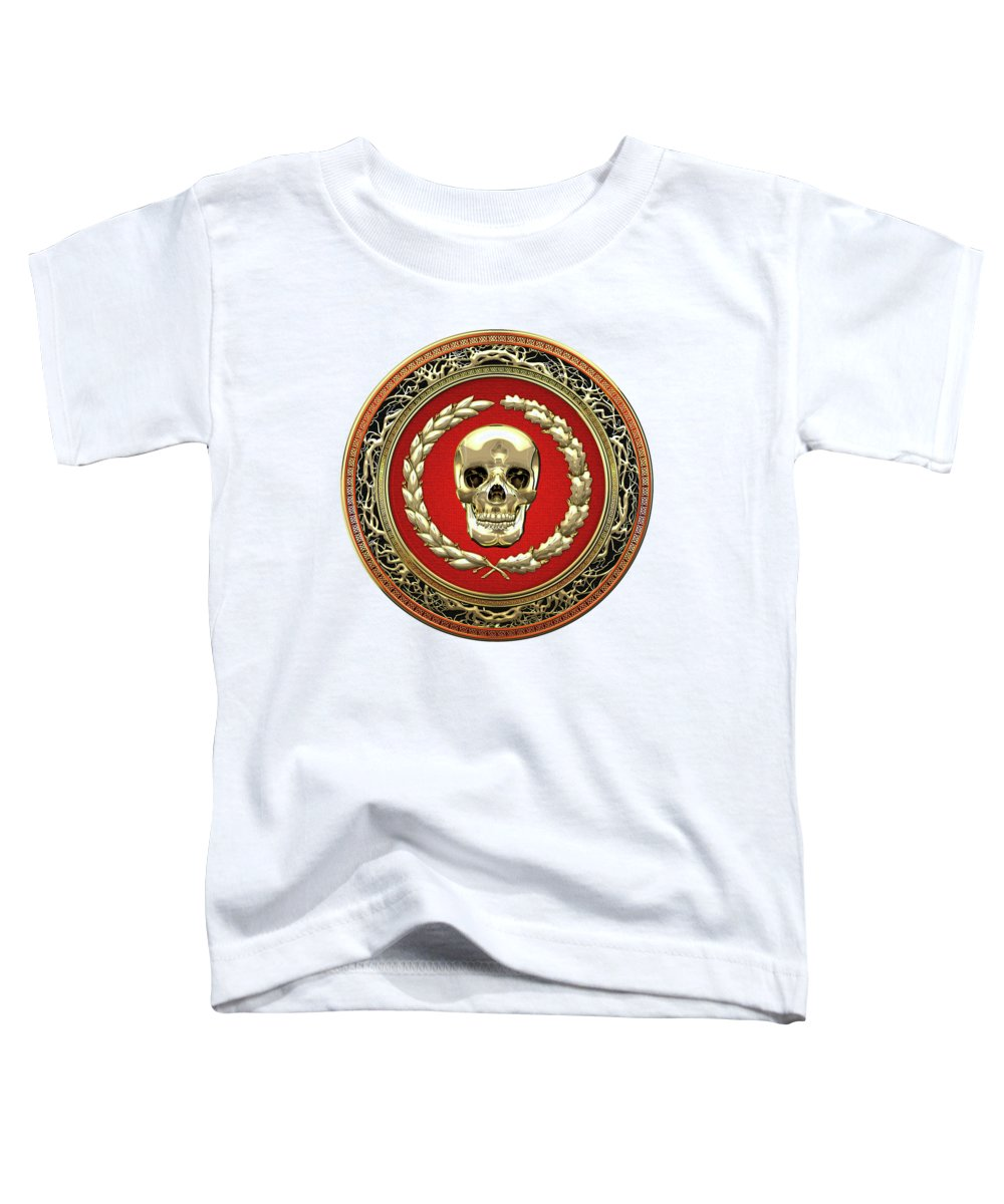 'memento Mori' Collection By Serge Averbukh Toddler T-Shirt featuring the digital art Gold Human Skull Over White Leather by Serge Averbukh