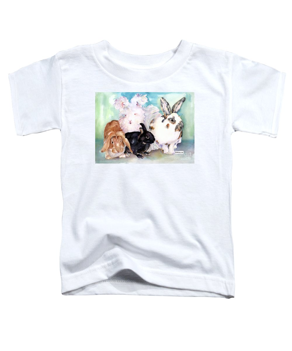 Animal Artwork Toddler T-Shirt featuring the painting Good Hare Day by Pat Saunders-White