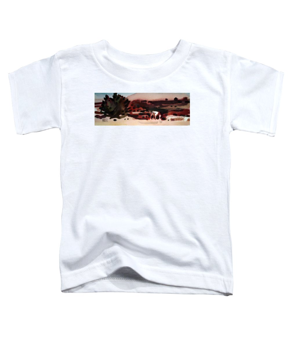 Horse Toddler T-Shirt featuring the painting Grazing Pinto by Donald Maier