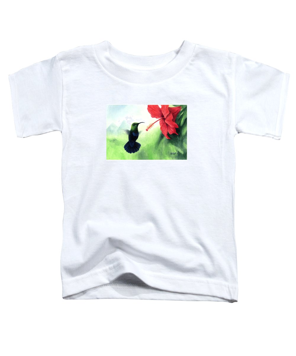 Chris Cox Toddler T-Shirt featuring the painting Green-throated Carib Hummingbird And Red Hibiscus by Christopher Cox
