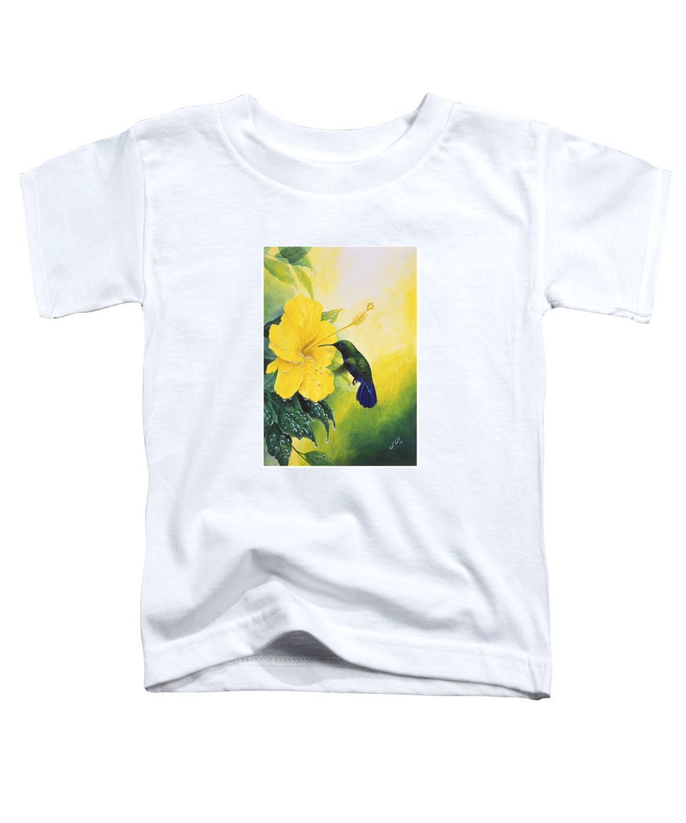 Chris Cox Toddler T-Shirt featuring the painting Green-throated Carib Hummingbird And Yellow Hibiscus by Christopher Cox
