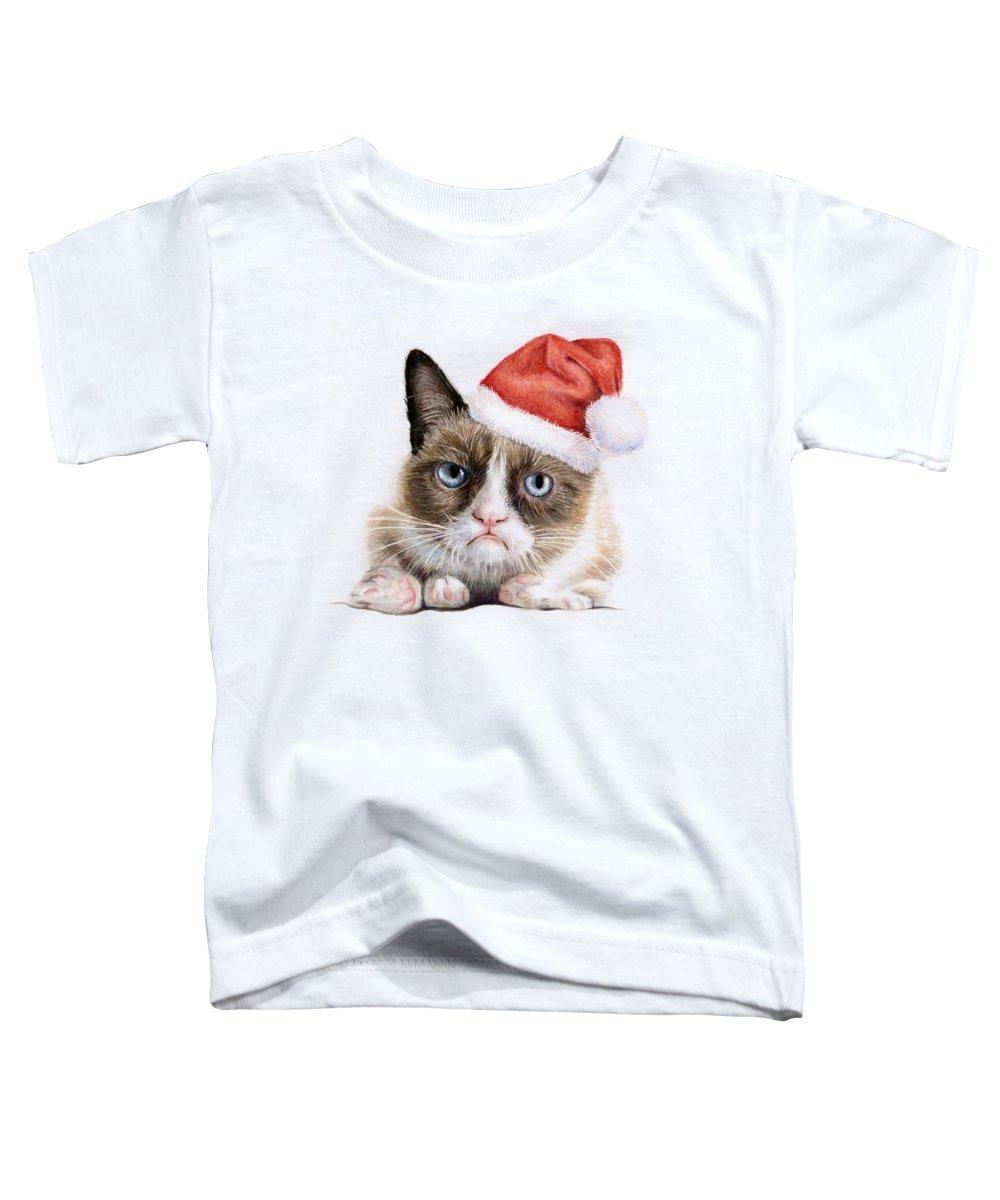 Grumpy Toddler T-Shirt featuring the painting Grumpy Cat As Santa by Olga Shvartsur