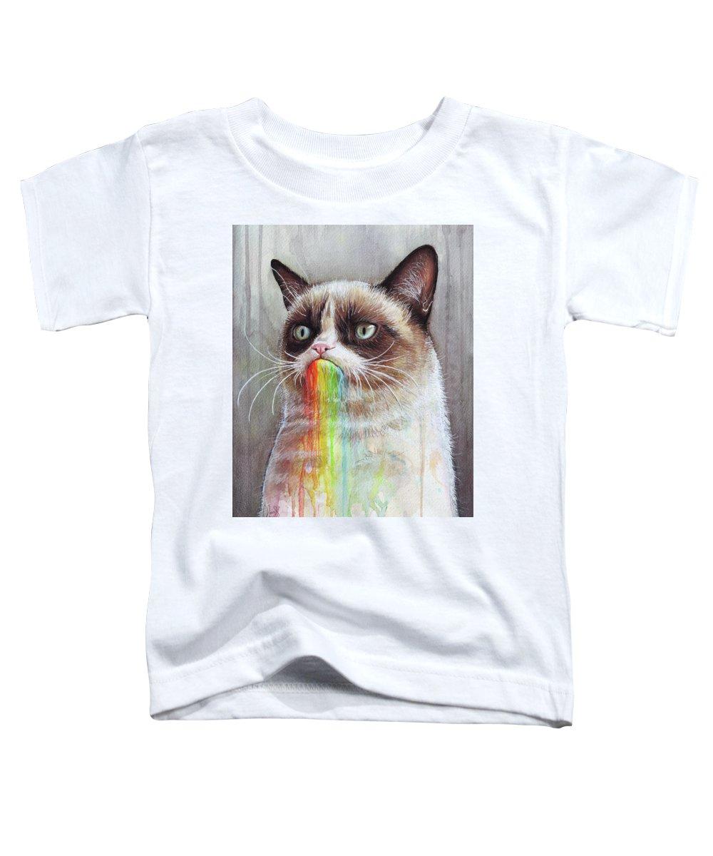 Grumpy Cat Toddler T-Shirt featuring the painting Grumpy Cat Tastes The Rainbow by Olga Shvartsur