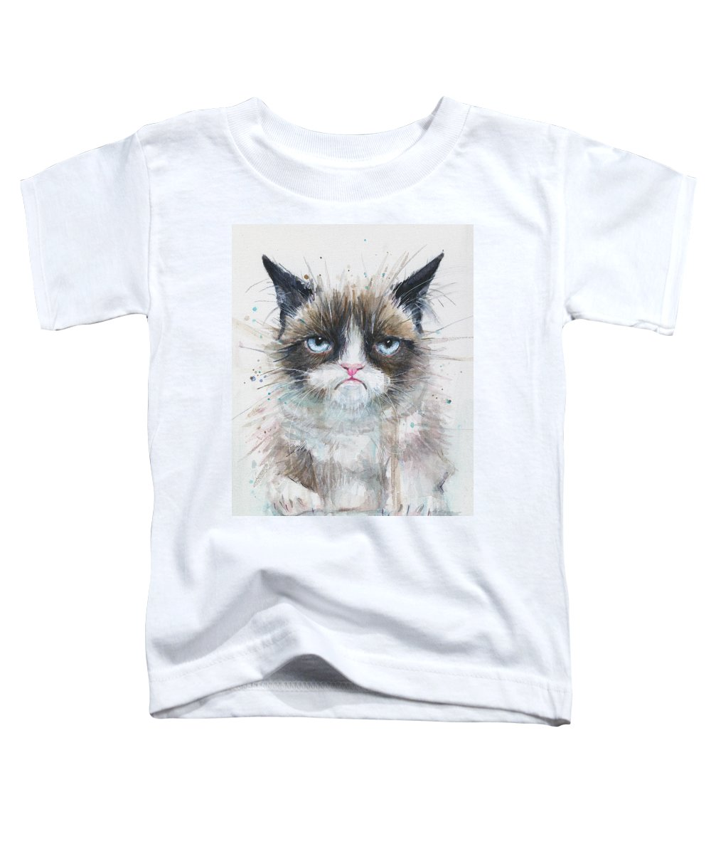 Watercolor Toddler T-Shirt featuring the painting Grumpy Cat Watercolor Painting by Olga Shvartsur