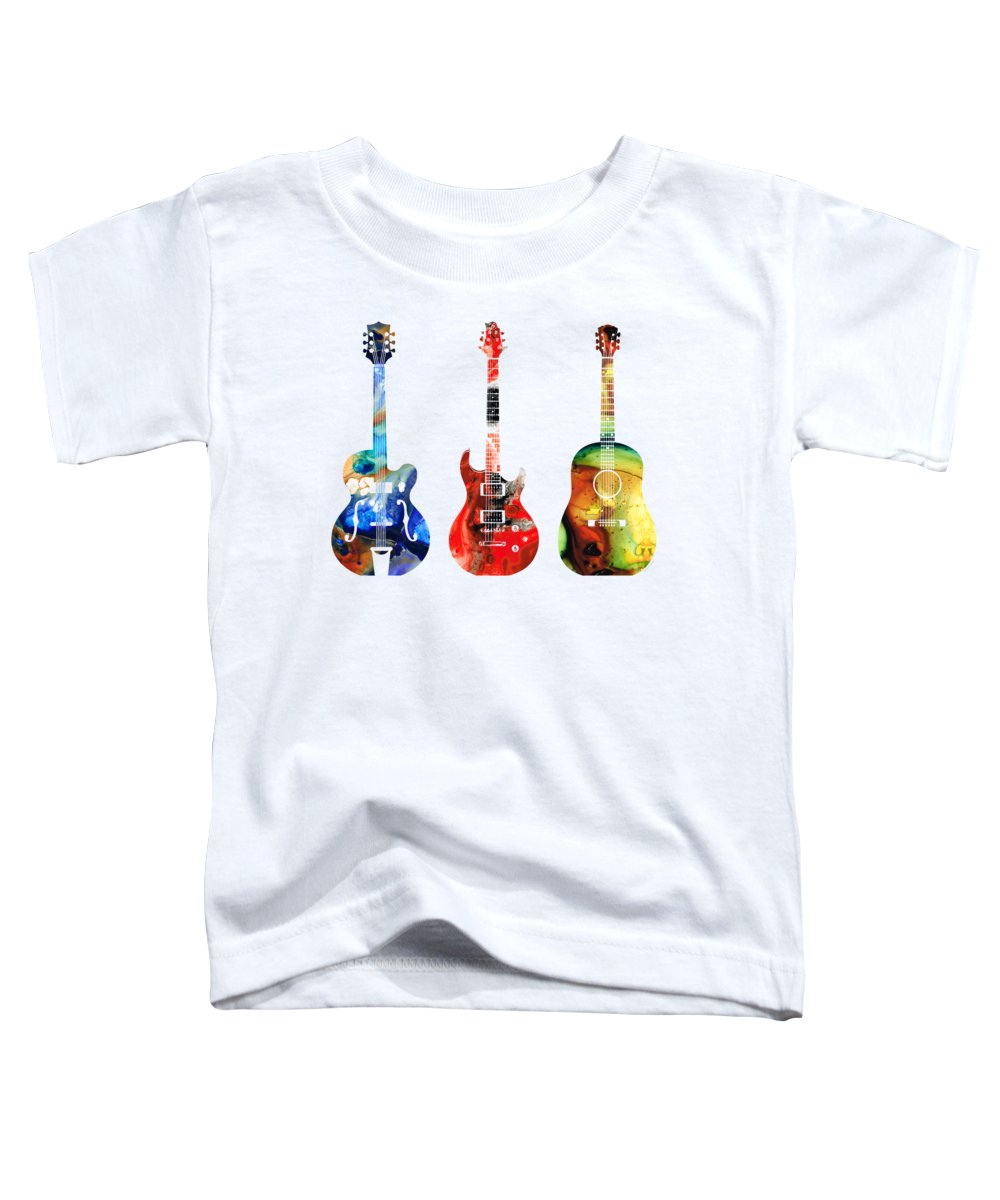 Guitar Toddler T-Shirt featuring the painting Guitar Threesome - Colorful Guitars By Sharon Cummings by Sharon Cummings