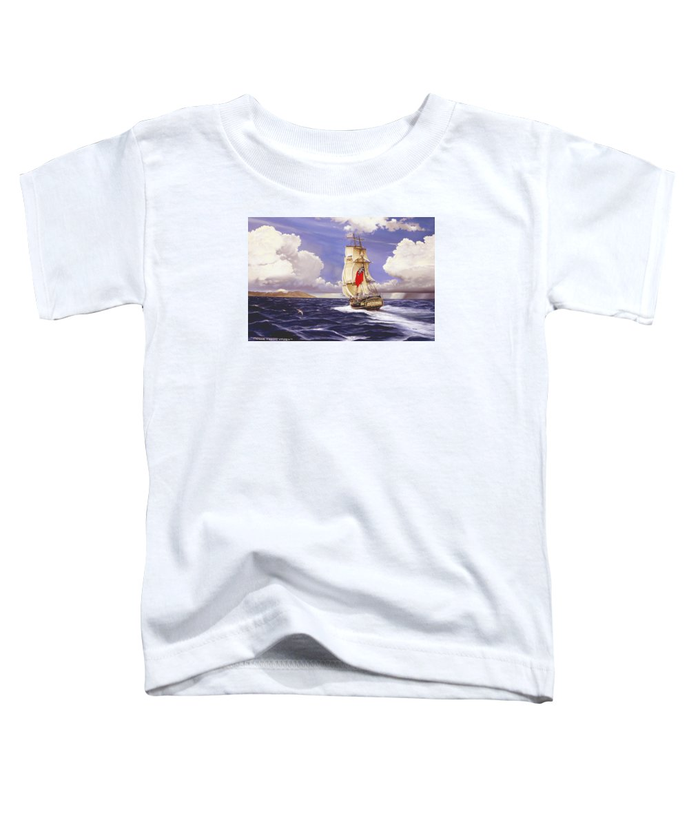 Marine Toddler T-Shirt featuring the painting H. M. S. Bounty At Tahiti by Marc Stewart