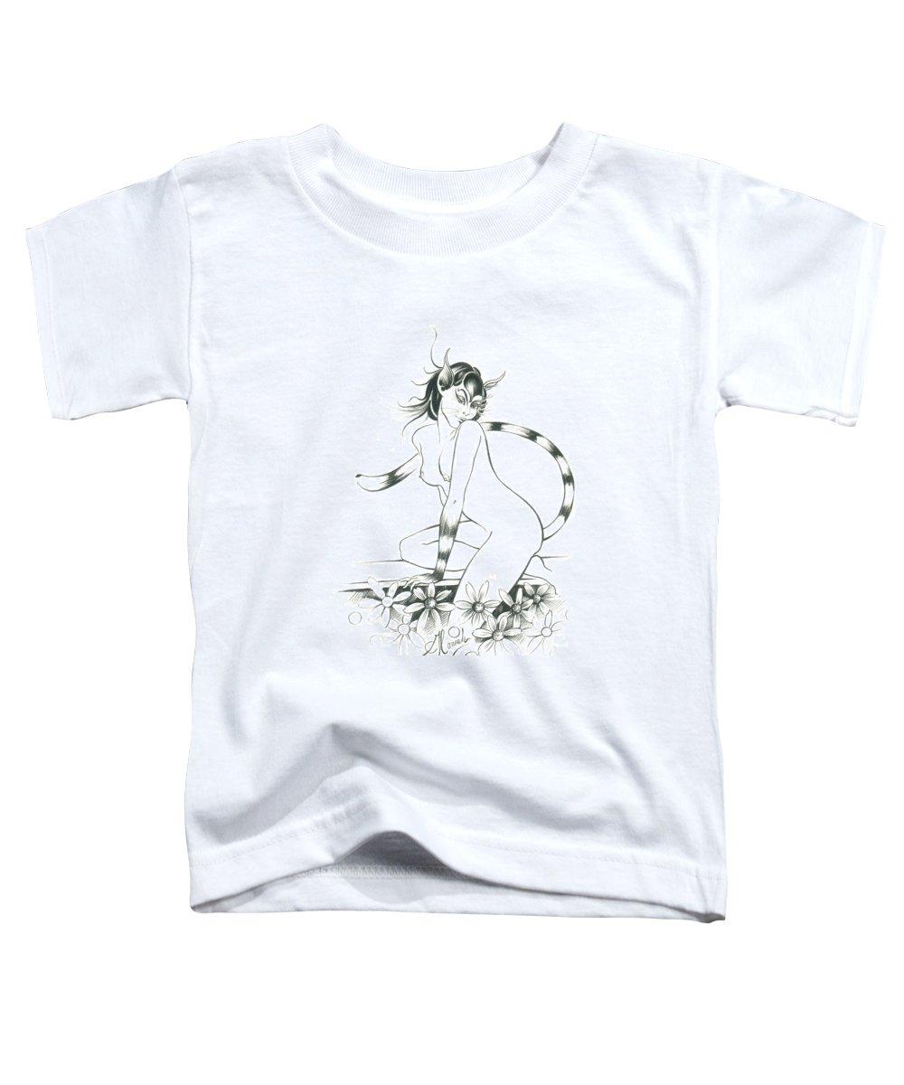 Cat Toddler T-Shirt featuring the drawing Half Wild Cat by Anna Ewa Miarczynska