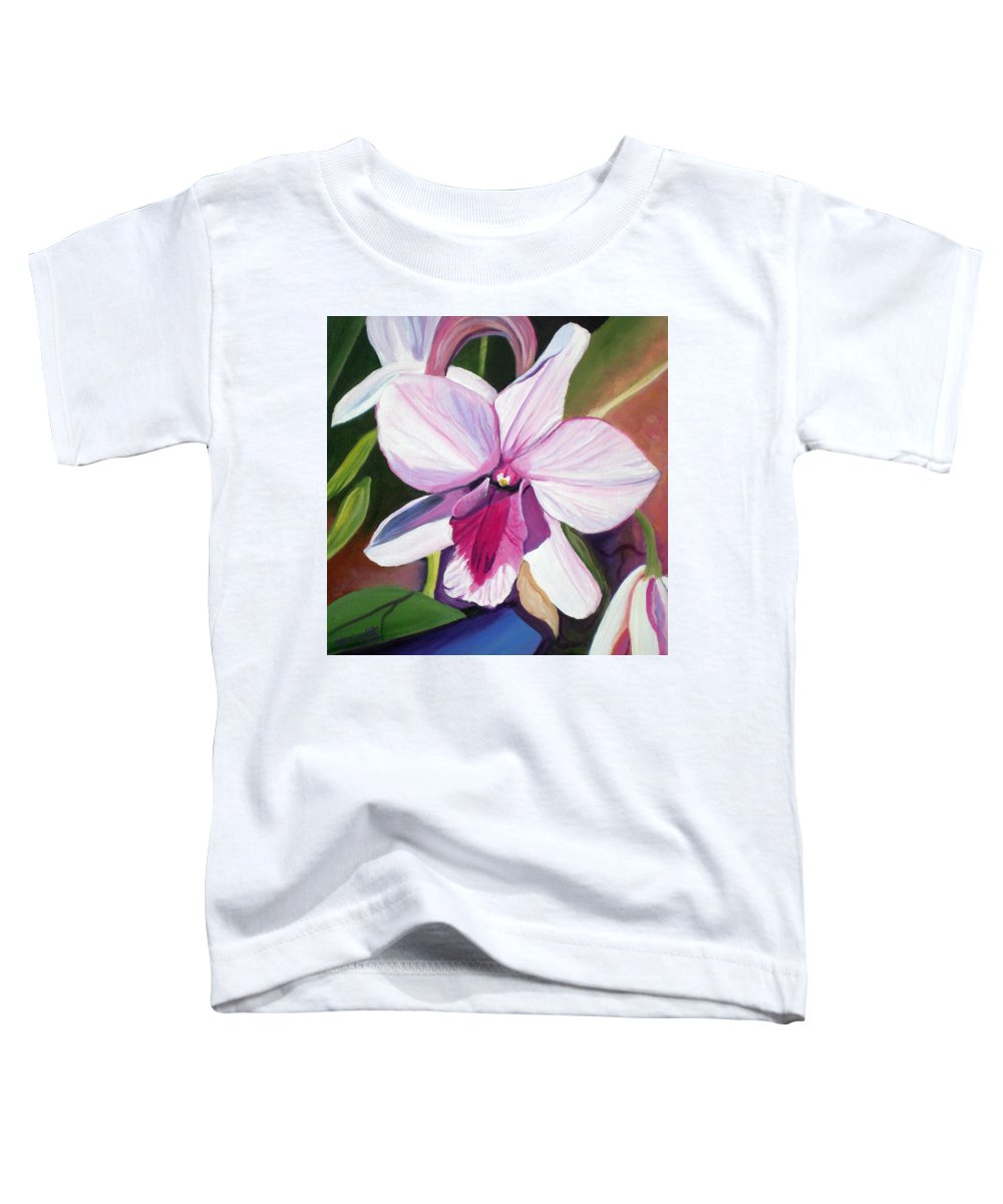 Kauai Toddler T-Shirt featuring the painting Happy Orchid by Marionette Taboniar