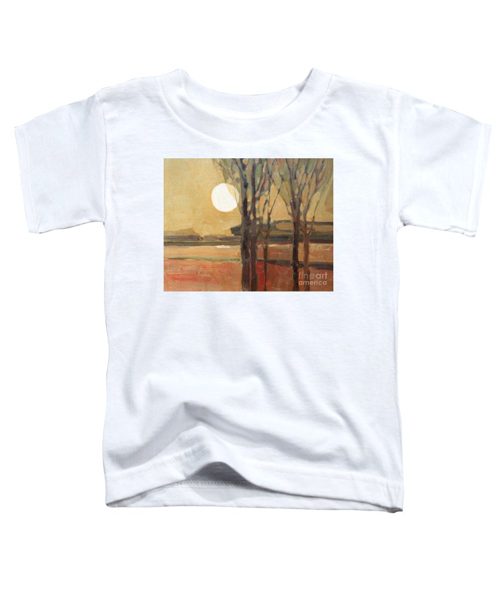 Sunset Toddler T-Shirt featuring the painting Harvest Moon by Donald Maier
