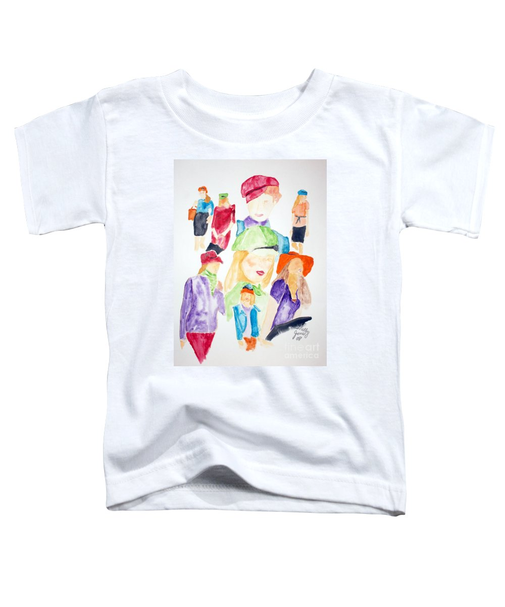 Hats Toddler T-Shirt featuring the painting Hats by Shelley Jones