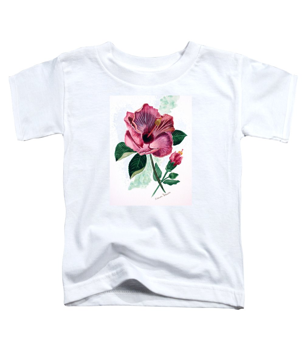 Flora Painting L Hibiscus Painting Pink Flower Painting Greeting Card Painting Toddler T-Shirt featuring the painting Hibiscus Dusky Rose by Karin Dawn Kelshall- Best