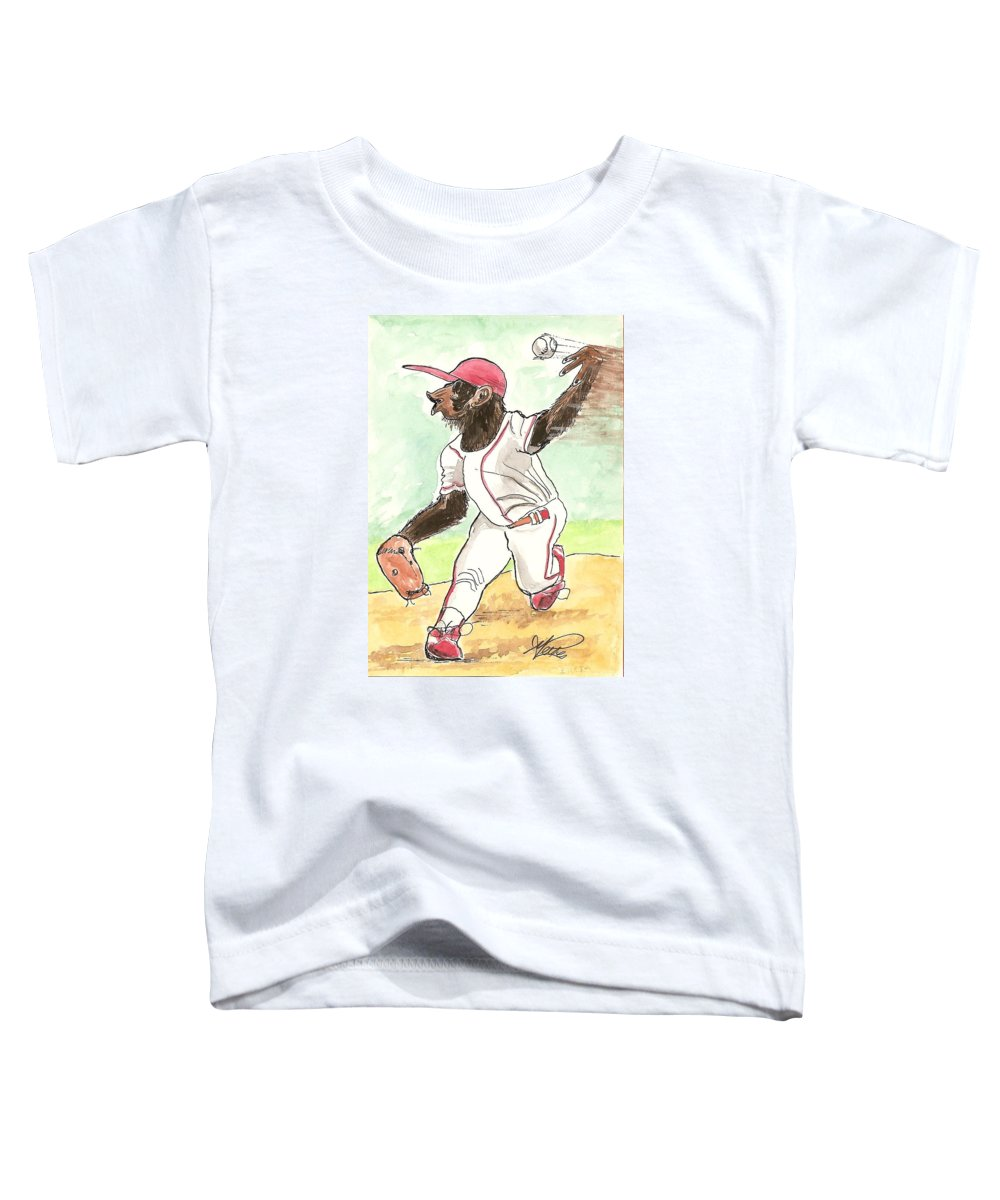 Baseball Toddler T-Shirt featuring the drawing Hit This by George I Perez
