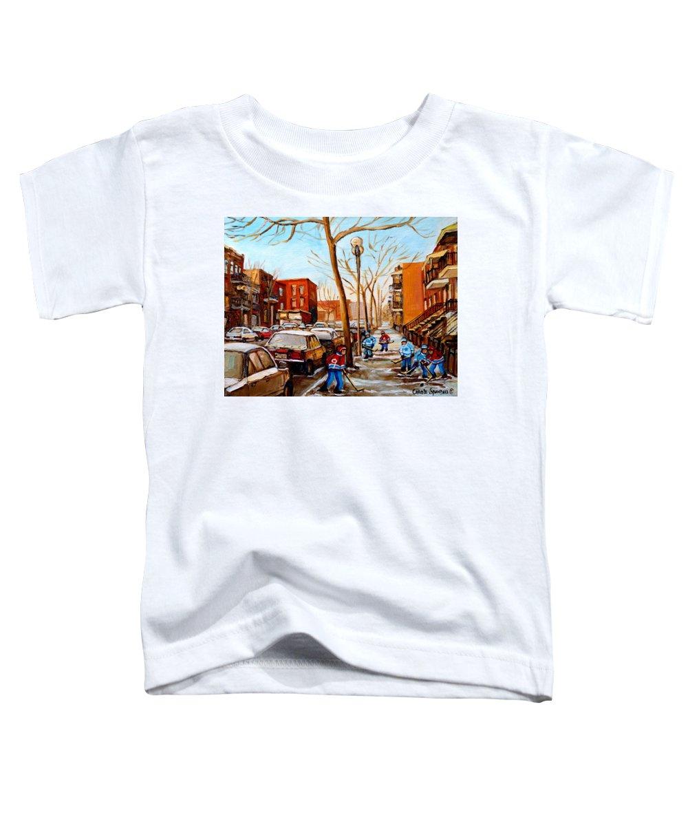 Hockey Toddler T-Shirt featuring the painting Hockey On St Urbain Street by Carole Spandau