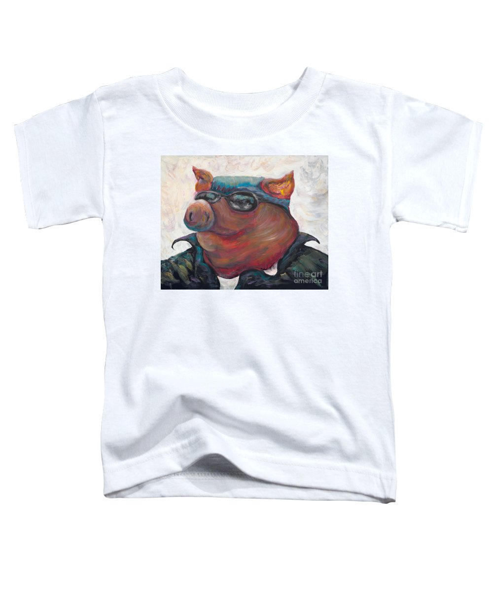 Hog Toddler T-Shirt featuring the painting Hogley Davidson by Nadine Rippelmeyer