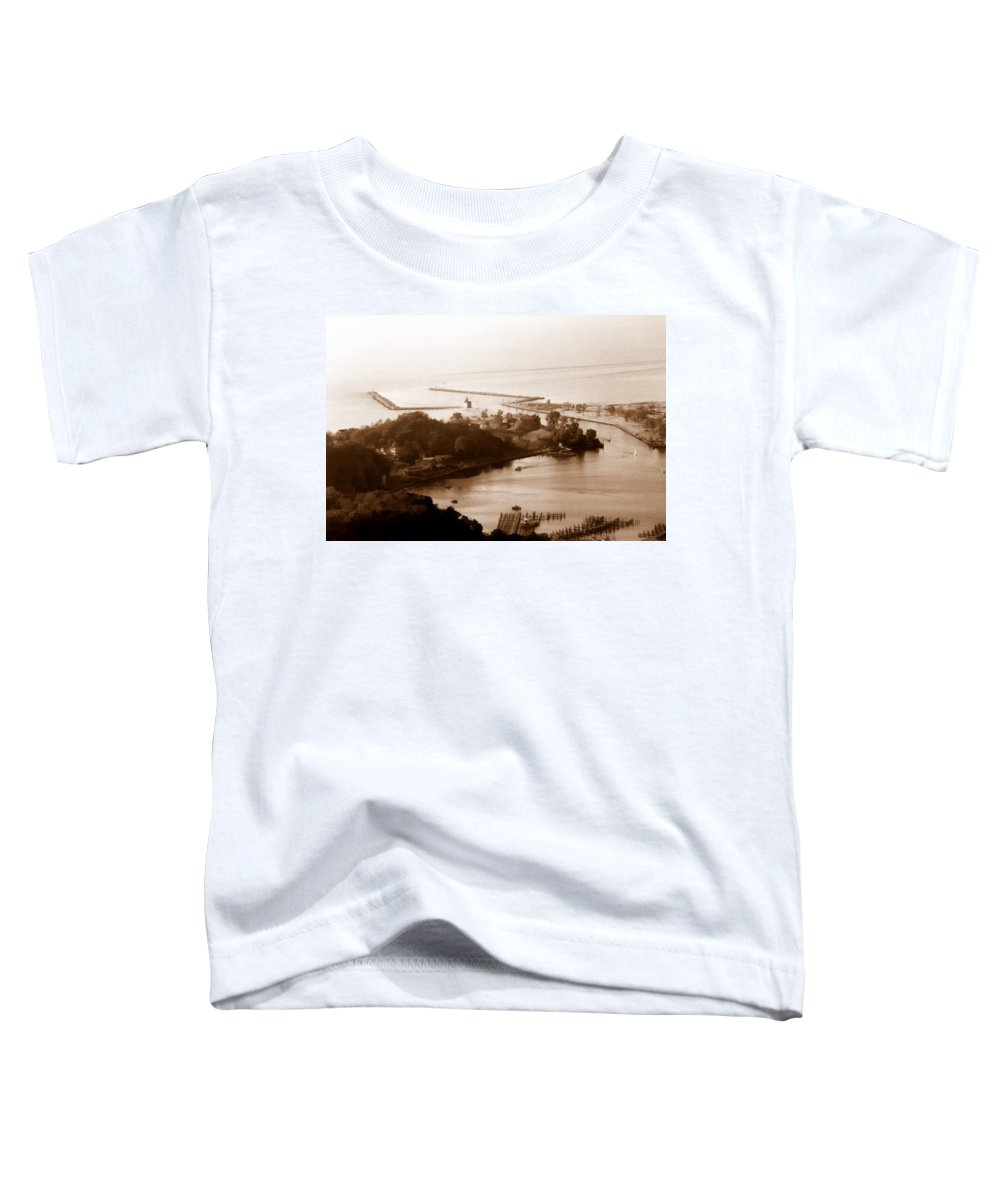 Holland Toddler T-Shirt featuring the photograph Holland Michigan Harbor Big Red Aerial Photo by Michelle Calkins