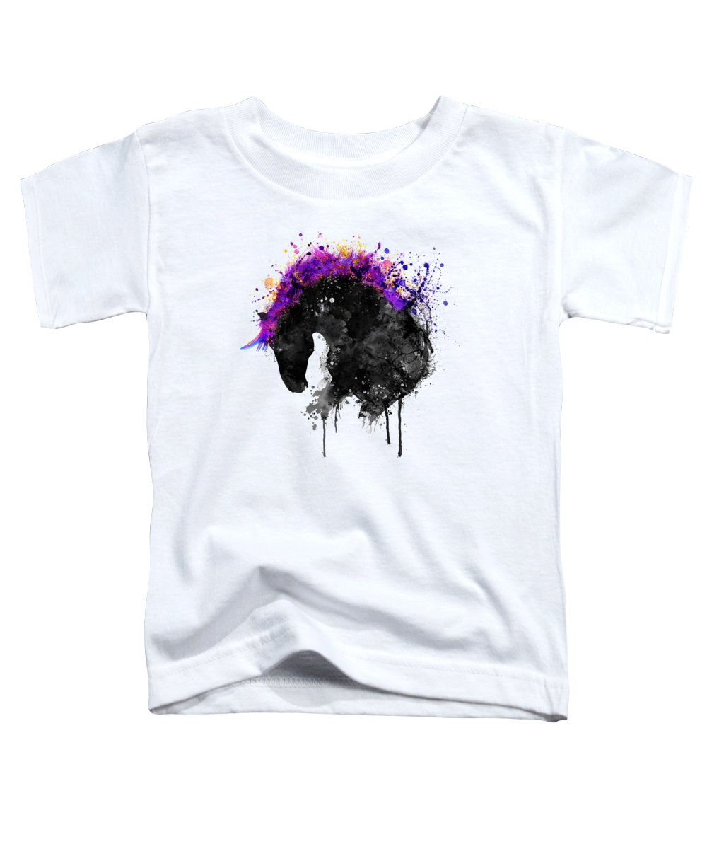 Horse Toddler T-Shirt featuring the painting Horse Head Watercolor Silhouette by Marian Voicu