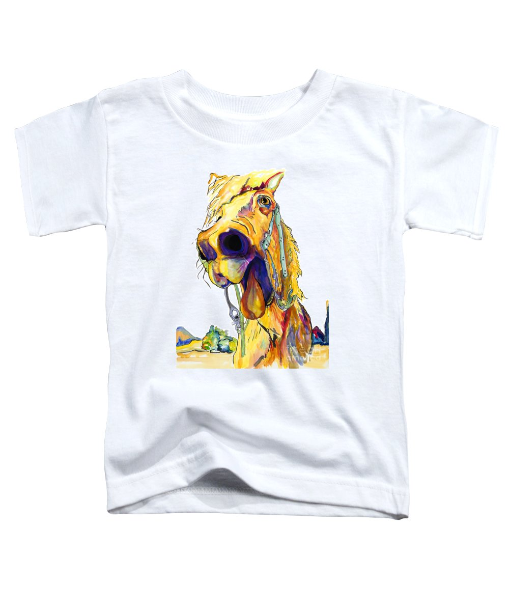 Animal Painting Toddler T-Shirt featuring the painting Horsing Around by Pat Saunders-White