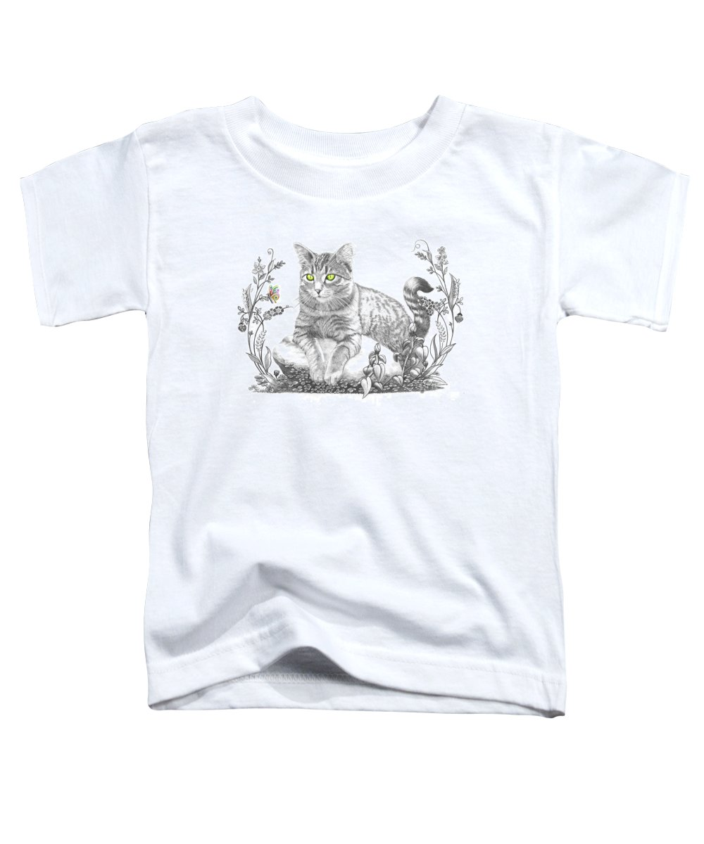 Cat Toddler T-Shirt featuring the drawing House Cat by Murphy Elliott