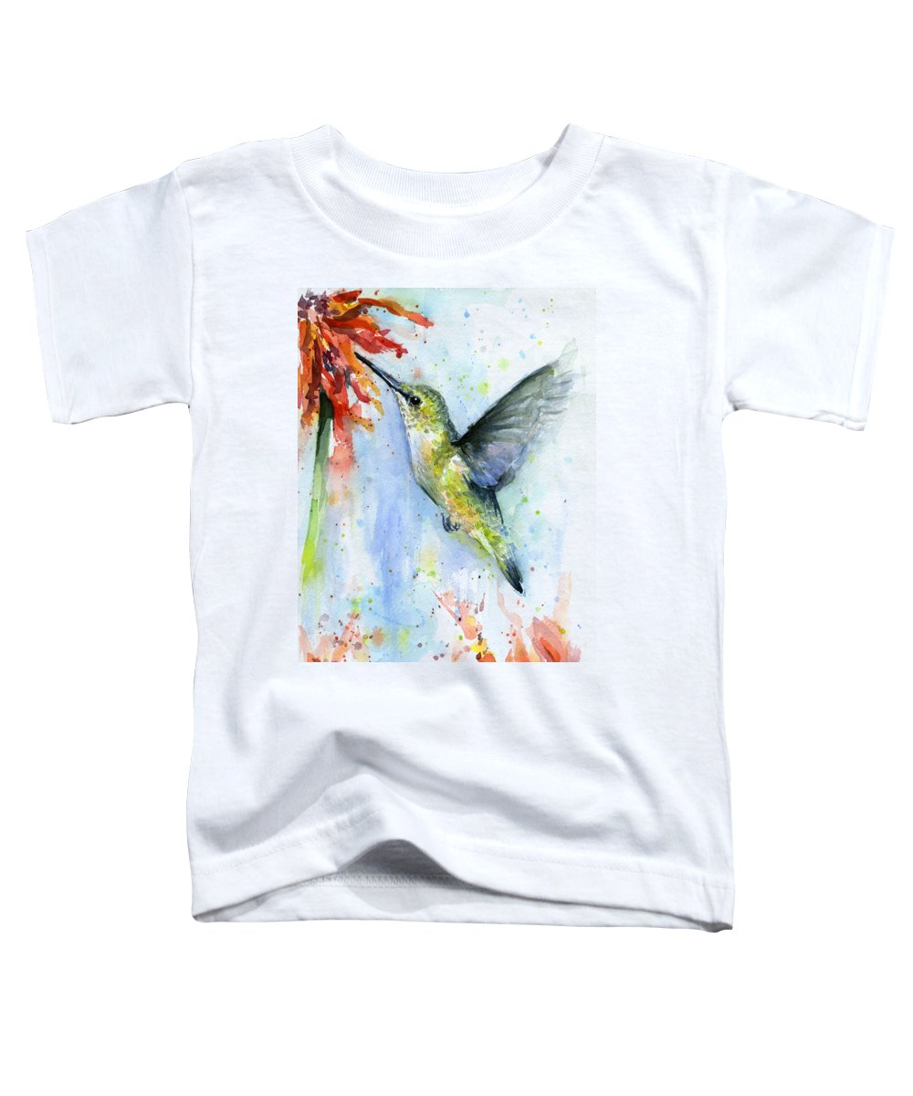 Watercolor Toddler T-Shirt featuring the painting Hummingbird and Red Flower Watercolor by Olga Shvartsur