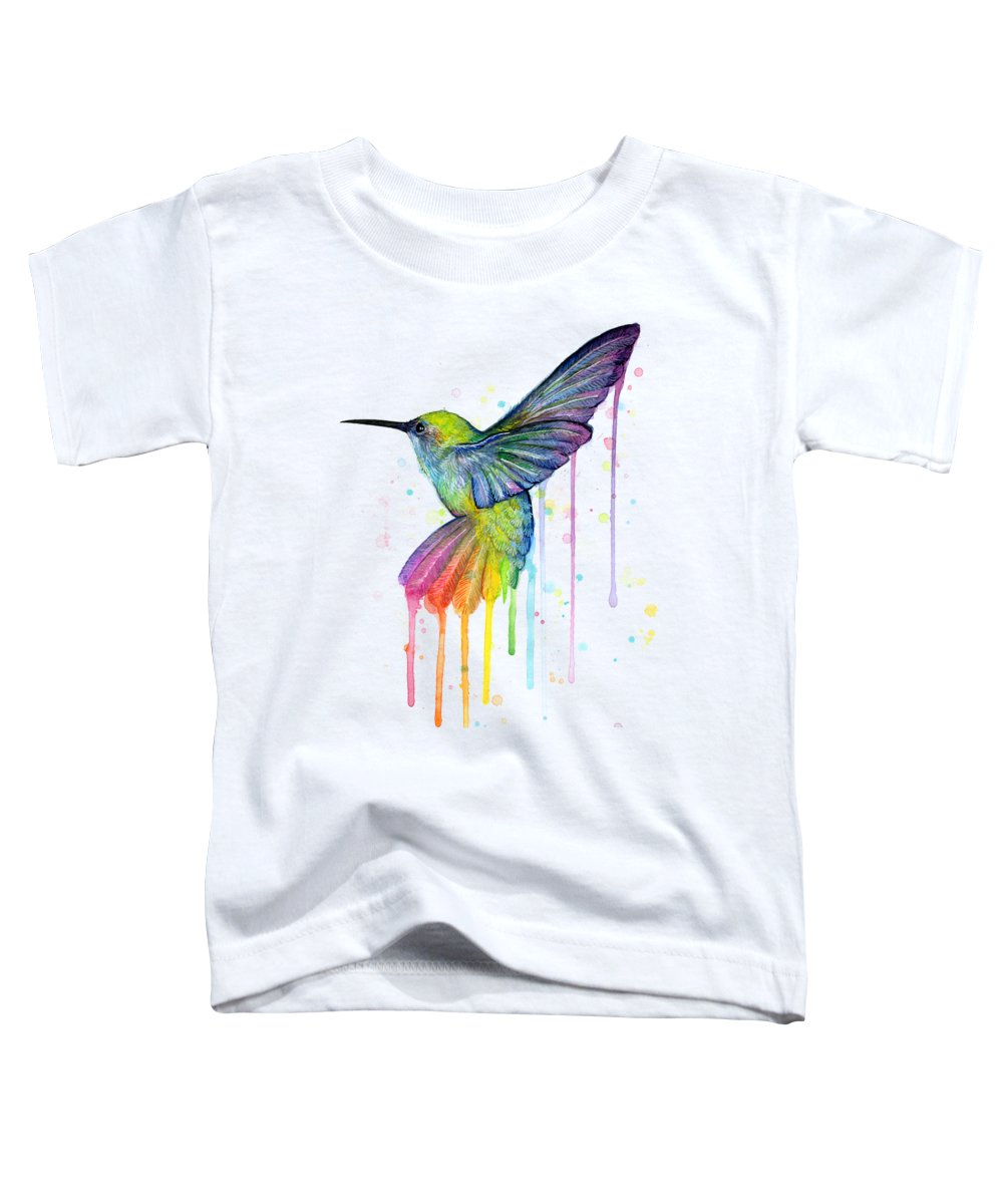 Hummingbird Toddler T-Shirt featuring the painting Hummingbird Of Watercolor Rainbow by Olga Shvartsur