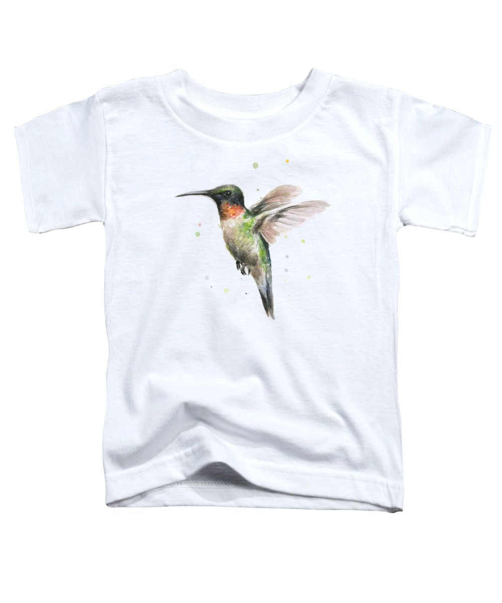 Animal Toddler T-Shirt featuring the painting Hummingbird by Olga Shvartsur