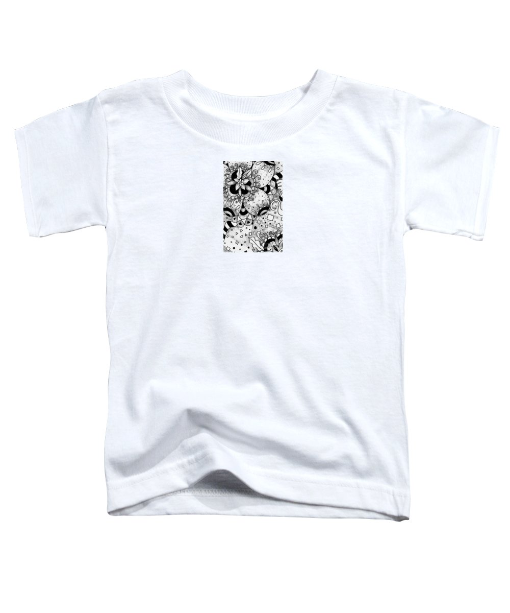Everything All The Time Toddler T-Shirt featuring the drawing Hurlyburly by Helena Tiainen