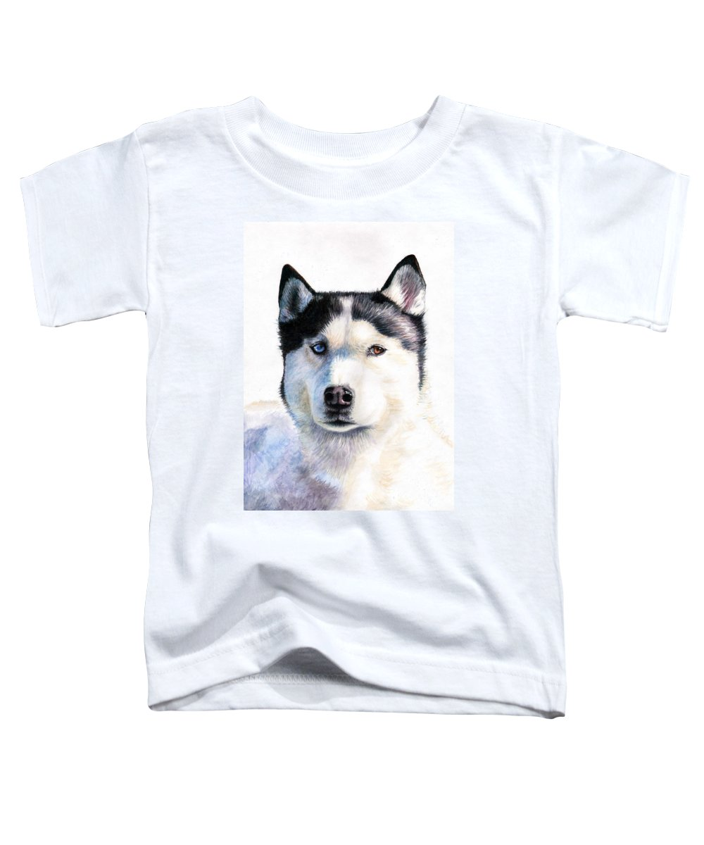 Dog Toddler T-Shirt featuring the painting Husky Blue by Nicole Zeug