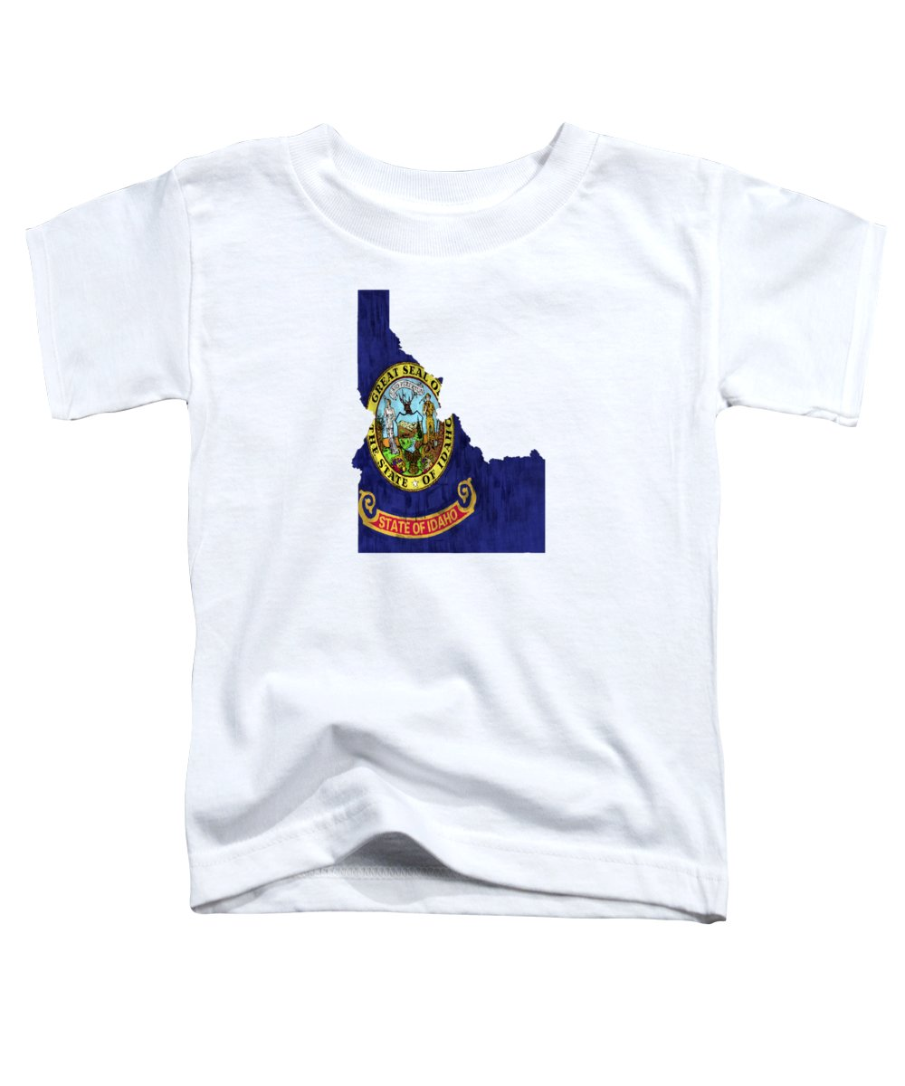 America Toddler T-Shirt featuring the digital art Idaho Map Art With Flag Design by World Art Prints And Designs