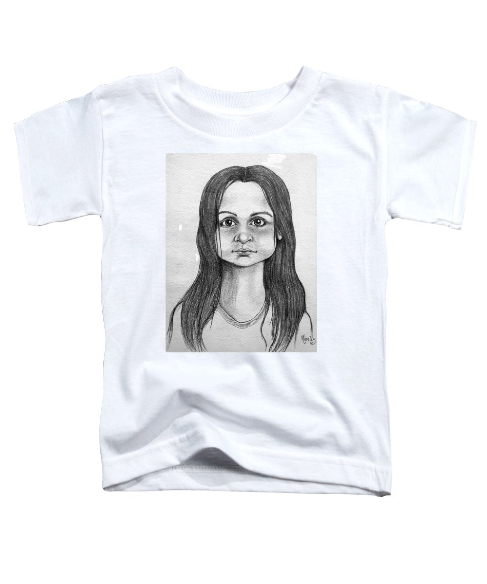 Portrait Toddler T-Shirt featuring the drawing Immigrant Girl by Marco Morales