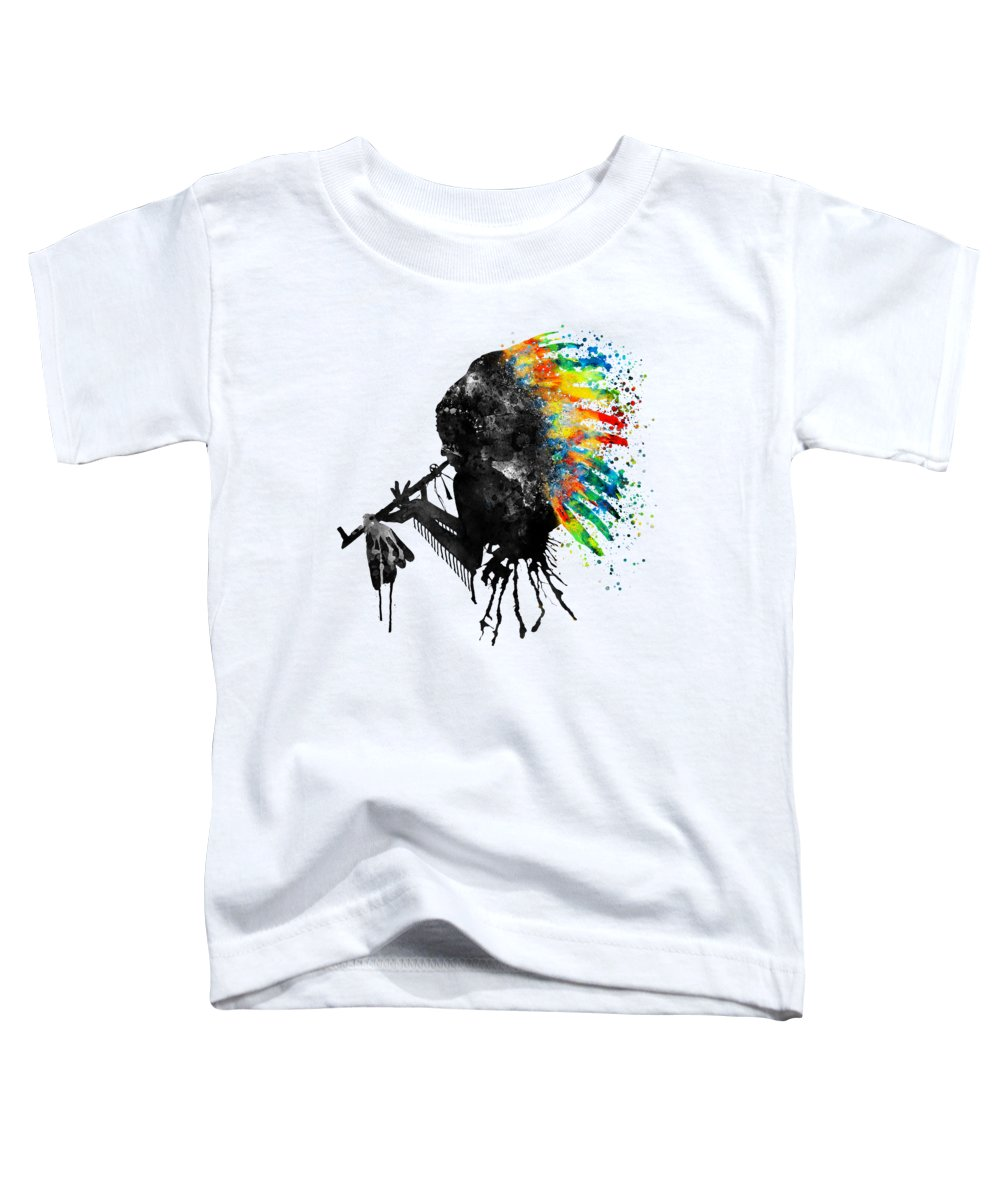 Indian Toddler T-Shirt featuring the painting Indian Silhouette With Colorful Headdress by Marian Voicu