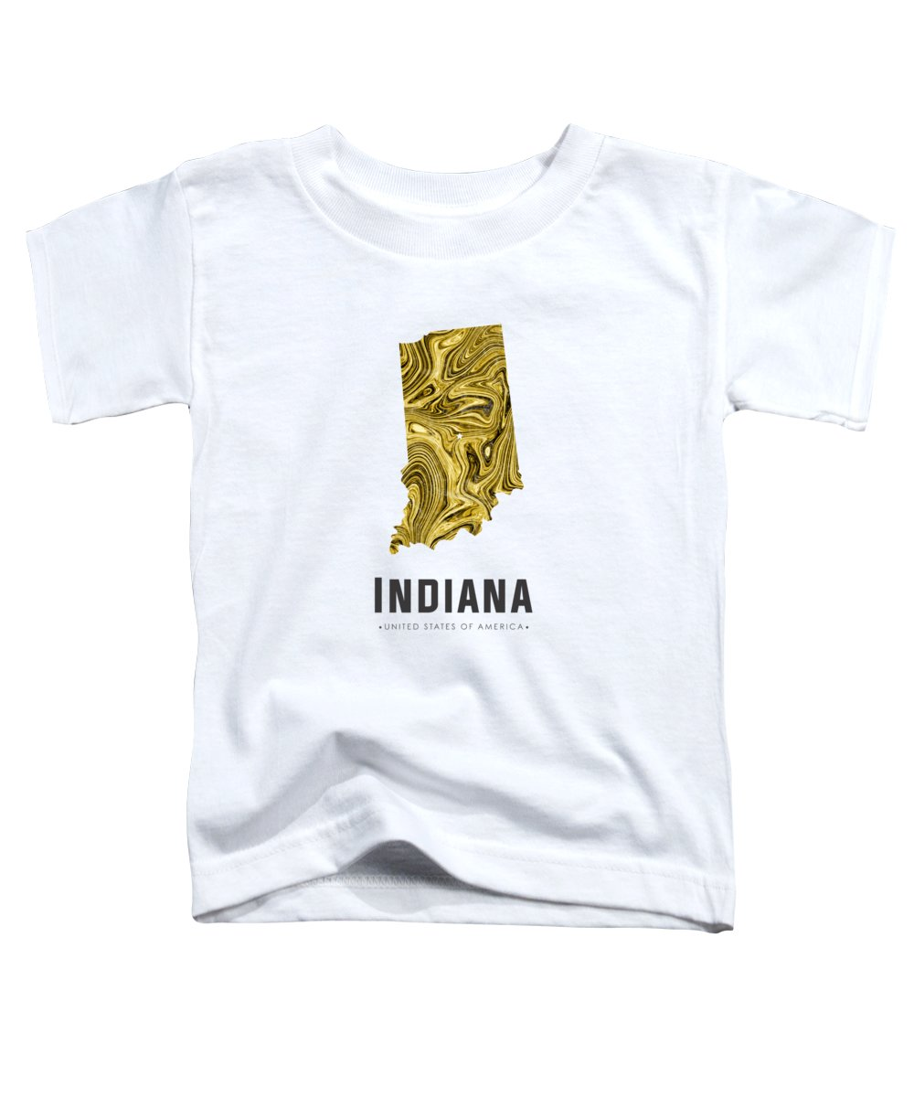 Indiana Toddler T-Shirt featuring the mixed media Indiana Map Art Abstract In Gold Yellow by Studio Grafiikka