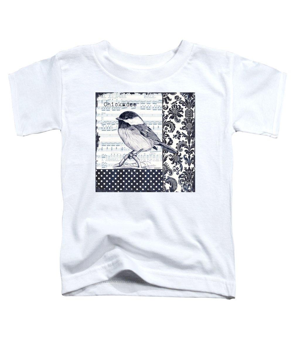 Bird Toddler T-Shirt featuring the painting Indigo Vintage Songbird 2 by Debbie DeWitt