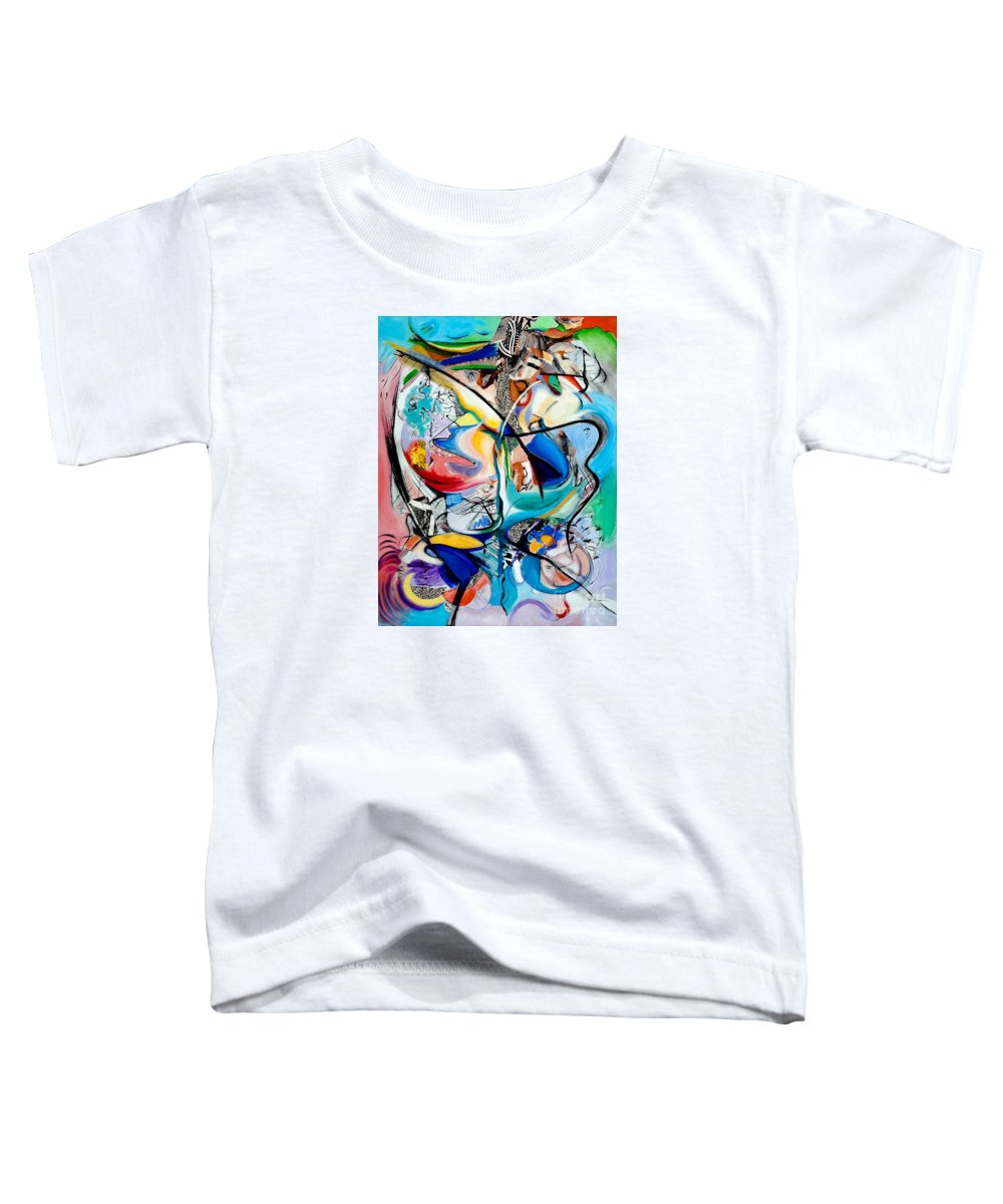 Abstract Toddler T-Shirt featuring the painting Intimate Glimpses - Journey Of Life by Kerryn Madsen-Pietsch