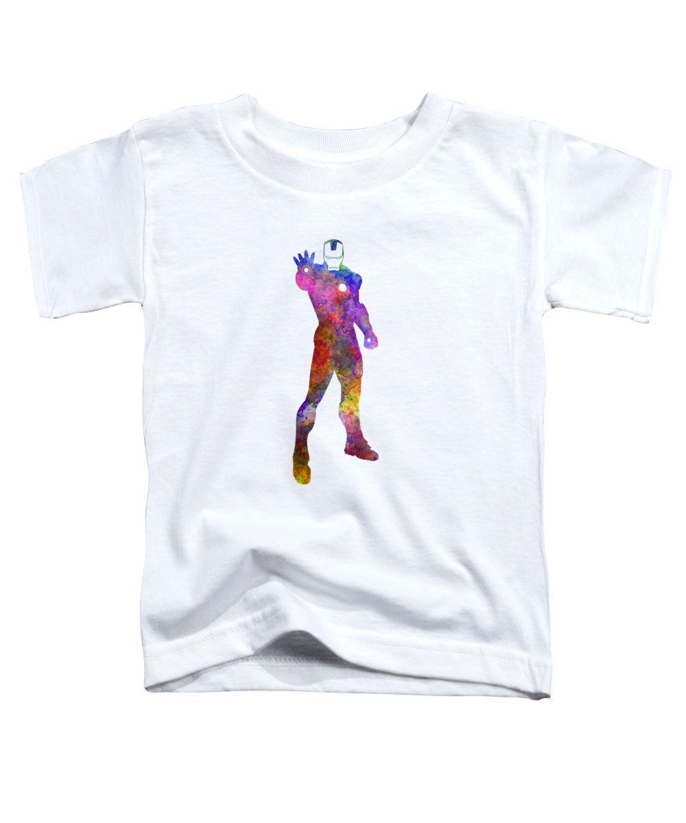 Iron Man Toddler T-Shirt featuring the painting Iron Man 01 In Watercolor by Pablo Romero