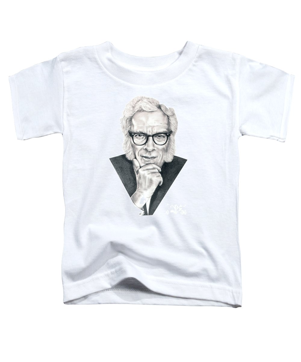 Portrait Toddler T-Shirt featuring the drawing Isaac Asimov by Murphy Elliott
