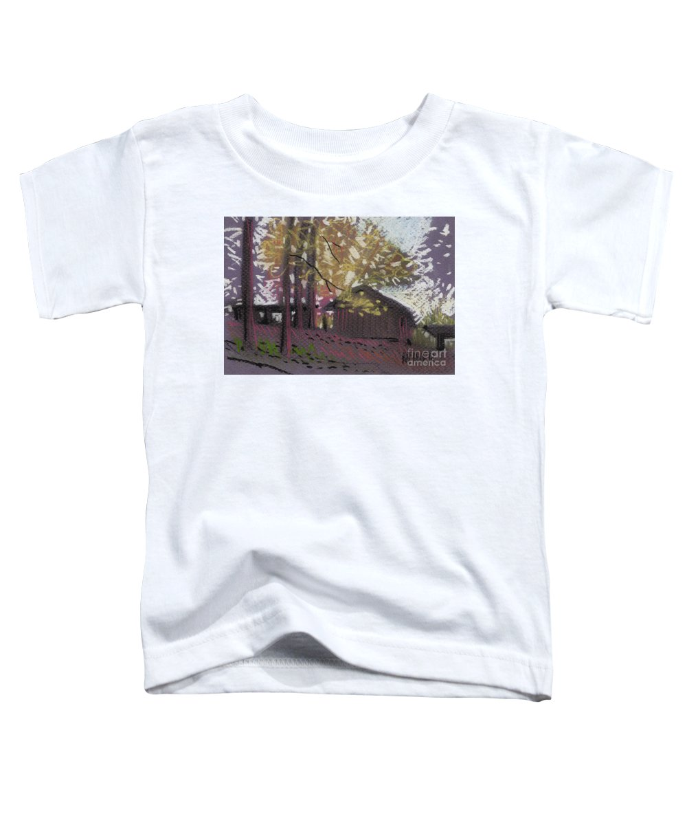 Pastel Toddler T-Shirt featuring the drawing James's Barns 9 by Donald Maier