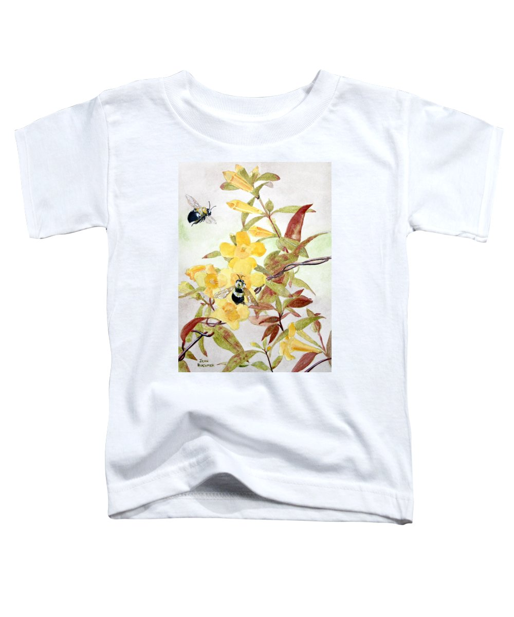 Jasmine Toddler T-Shirt featuring the painting Jessamine Bee Mine by Jean Blackmer