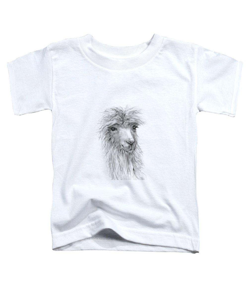 Llama Art Toddler T-Shirt featuring the drawing Jessica by K Llamas
