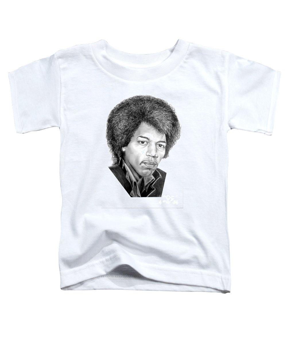 Jimmi Hendrix Toddler T-Shirt featuring the drawing Jimmi Hendrix By Murphy Art. Elliott by Murphy Elliott