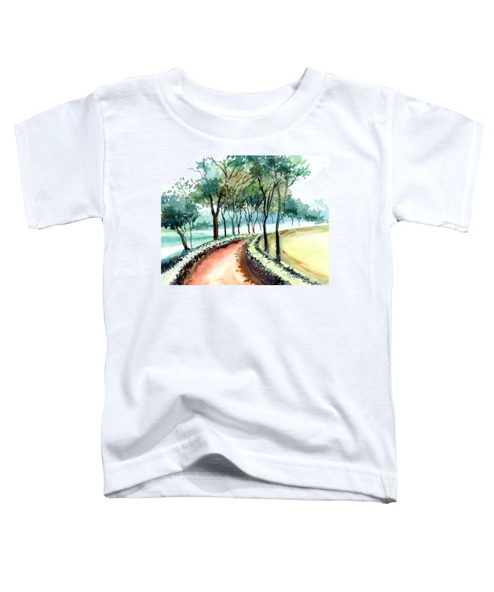 Landscape Toddler T-Shirt featuring the painting Jogging Track by Anil Nene
