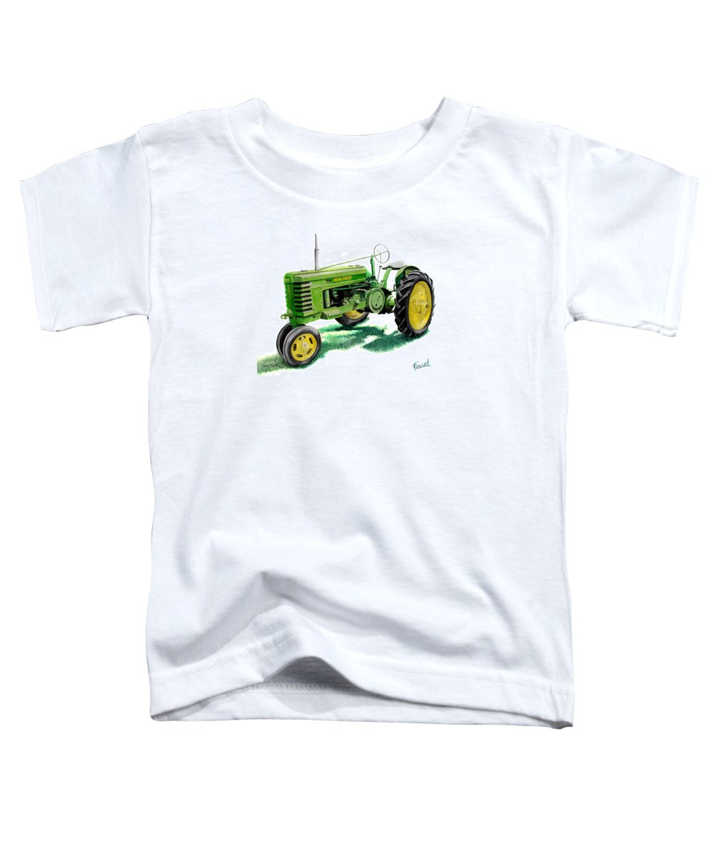 John Deere Tractor Toddler T-Shirt featuring the painting John Deere Tractor by Ferrel Cordle