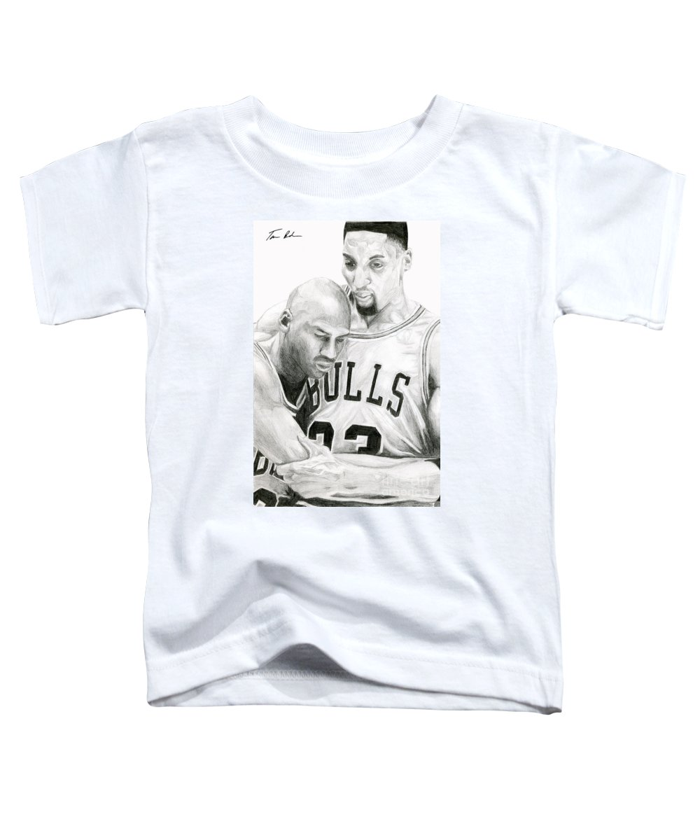 Michael Jordan Toddler T-Shirt featuring the drawing Jordan Will To Win by Tamir Barkan