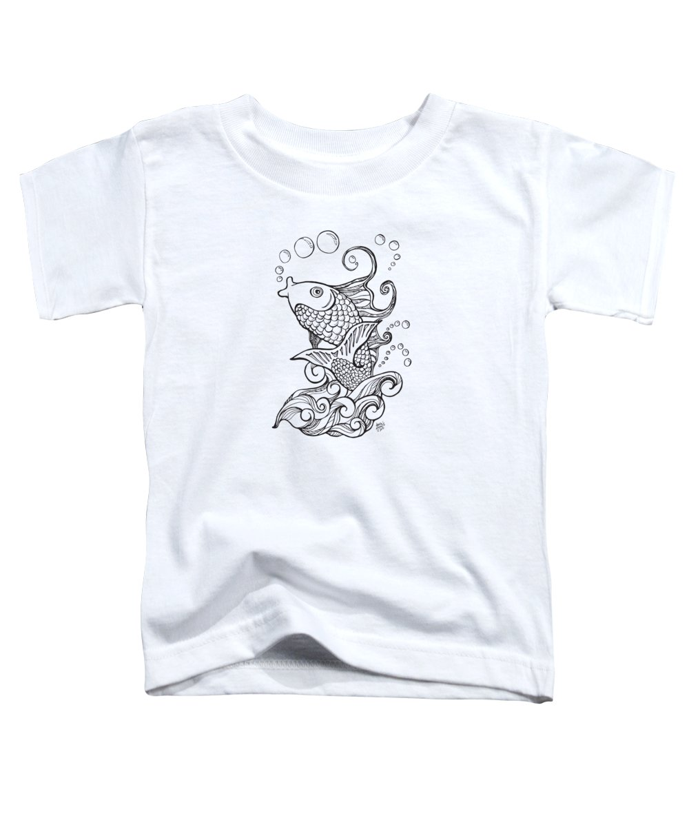 Koi Toddler T-Shirt featuring the drawing Koi Fish And Water Waves by Laura Ostrowski